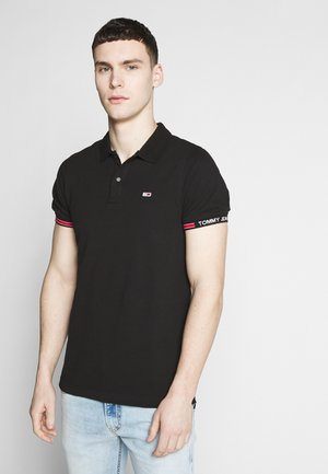 DETAIL SLIM FIT - Polo shirt - black