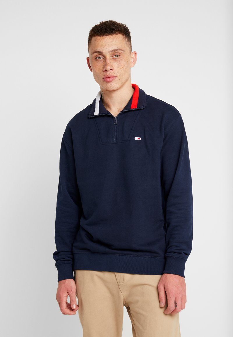 Tommy Jeans - SOLID ZIP MOCK NECK - Sweatshirt - blue