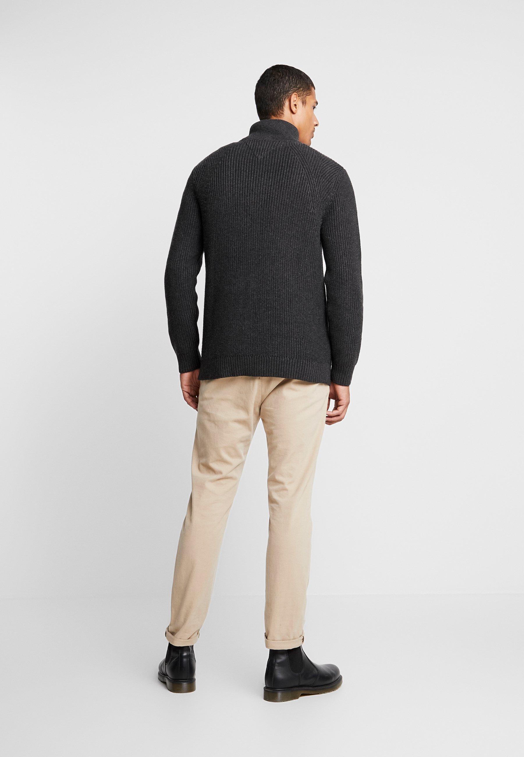 Tommy Jeans Grey Zip Dark Mock Twisted NeckPullover CtxoshrBQd