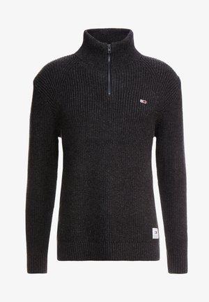 ZIP MOCK NECK - Pullover - dark grey twisted
