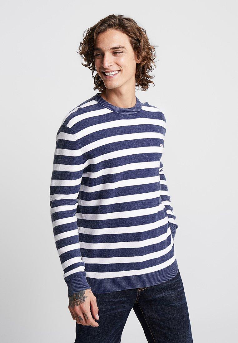Tommy Jeans - WASHED STRIPE SWEATER - Sweatshirt - blue