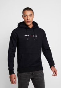 Tommy Jeans - STRAIGHT LOGO HOODIE - Huppari - tommy black - 0