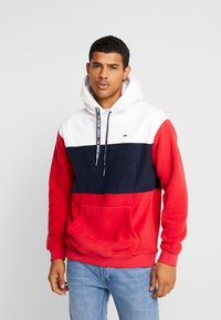 Tommy Jeans - BOLD STRIPE HOODIE - Hoodie - racing red/black iris - 0