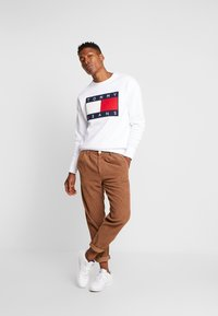 Tommy Jeans - FLAG CREW - Collegepaita - classic white - 1