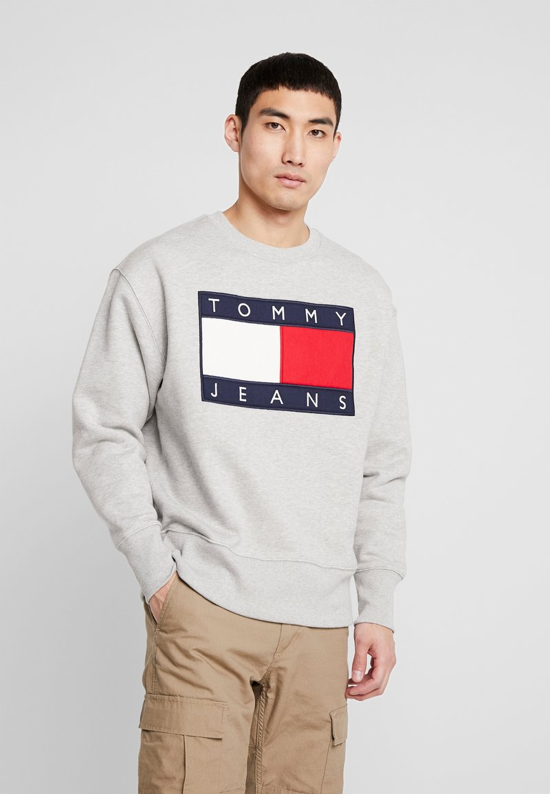 Tommy Jeans - FLAG CREW - Sweater - light grey