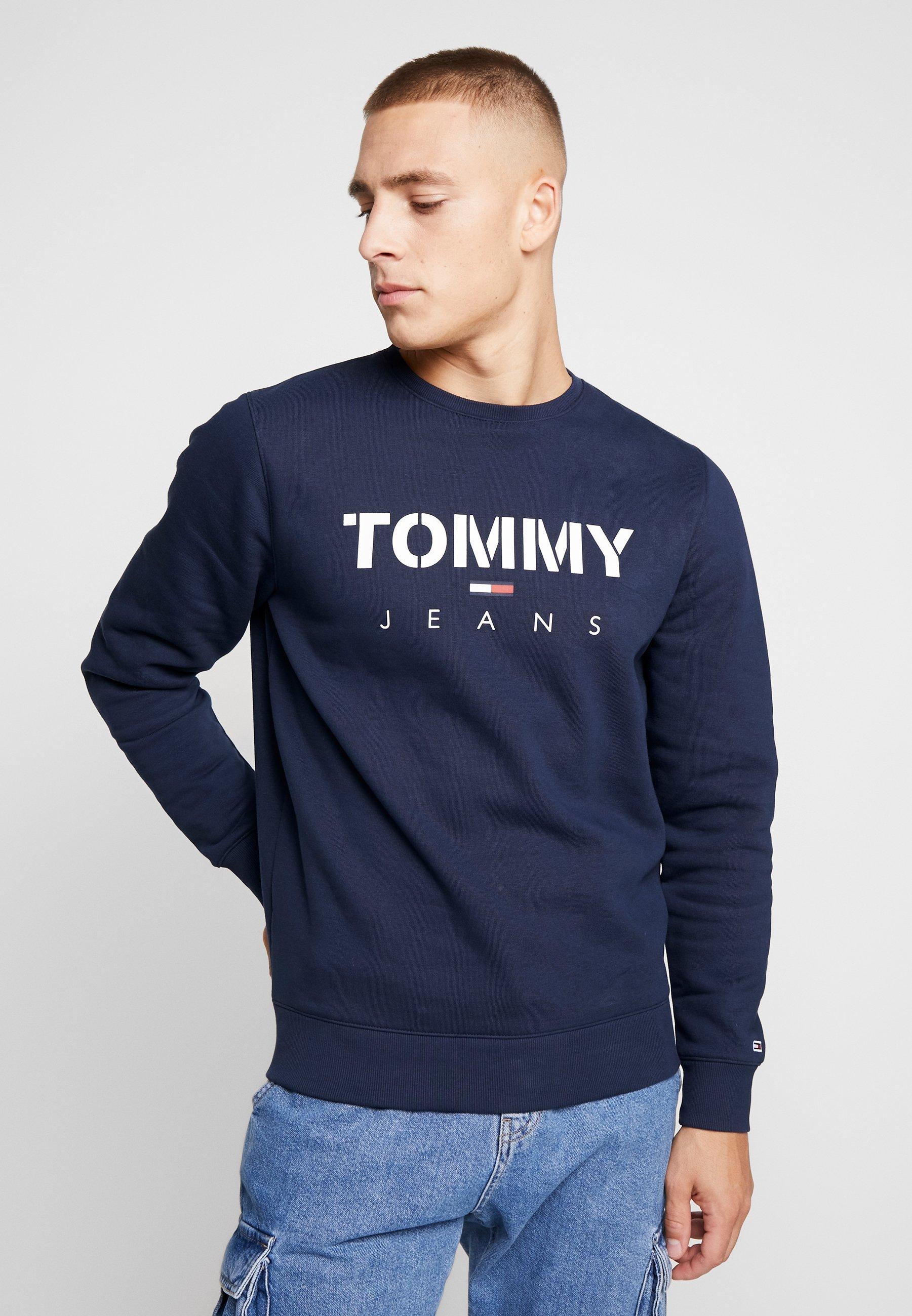 Tommy Jeans NOVEL LOGO CREW - Bluza - black iris