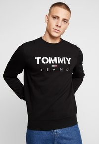Tommy Jeans - NOVEL LOGO CREW - Felpa - black - 0