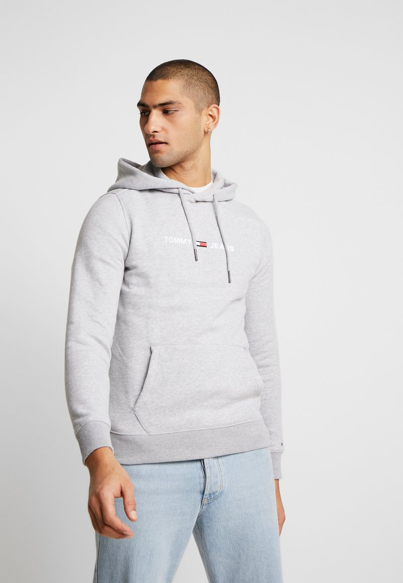 Tommy Jeans - STRAIGHT SMALL LOGO HOODIE - Hoodie - light grey heather