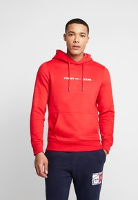 Tommy Jeans - STRAIGHT SMALL LOGO HOODIE - Hoodie - racing red - 0