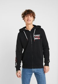 Tommy Jeans - ESSENTIAL GRAPHIC ZIP TROUGH - Felpa aperta - black - 0
