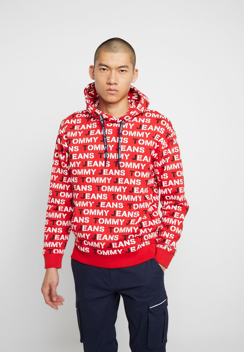 Tommy Jeans - ALL OVER HOODIE - Hoodie - racing red