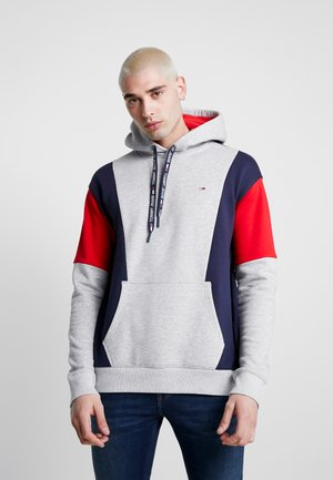COLORBLOCK HOODIE - Sweat à capuche - light grey heather/black iris/racing red
