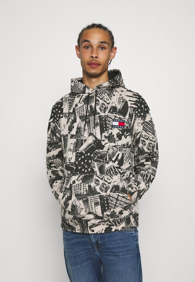 ALLOVER PRINT BADGE HOODIE - Jersey con capucha - white