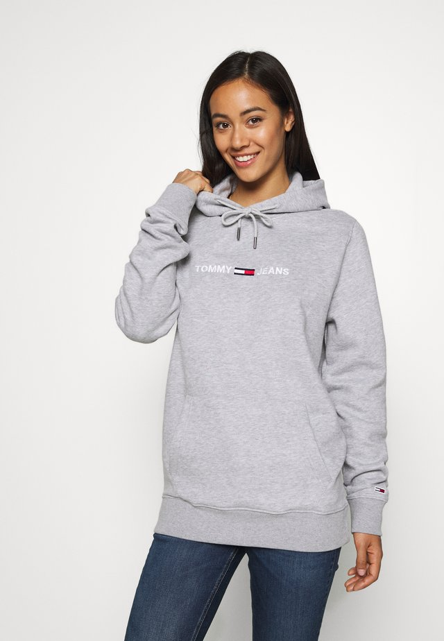 STRAIGHT LOGO HOODIE - Jersey con capucha - light grey heather