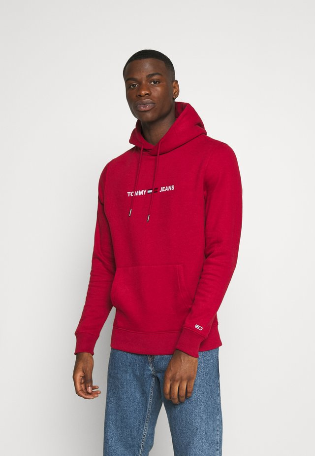 STRAIGHT LOGO HOODIE - Jersey con capucha - wine red