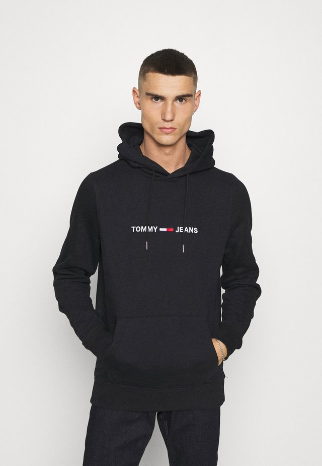 STRAIGHT LOGO HOODIE - Jersey con capucha - black