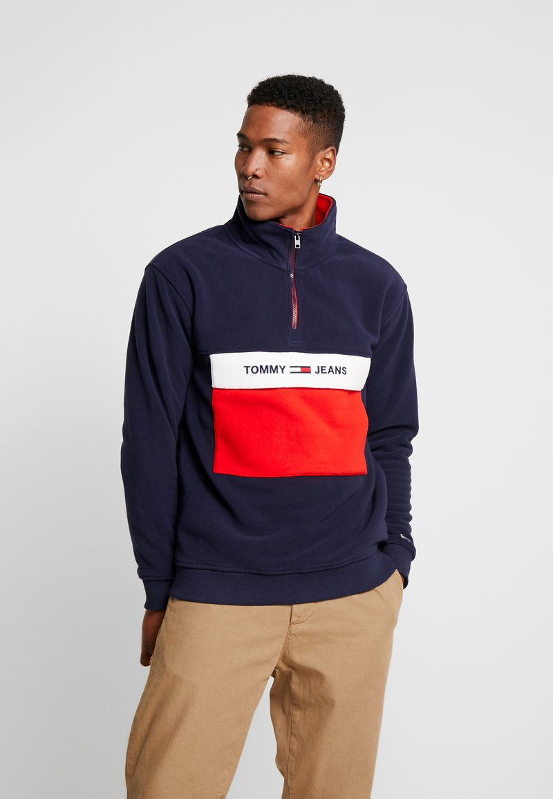 Tommy Jeans - COLORBLOCK POLAR HALF ZIP - Fleece jumper - black iris