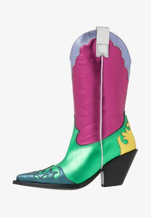Kovbojské/motorkářské boty - multicolor/pink/green