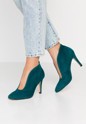 High heeled ankle boots - petrol