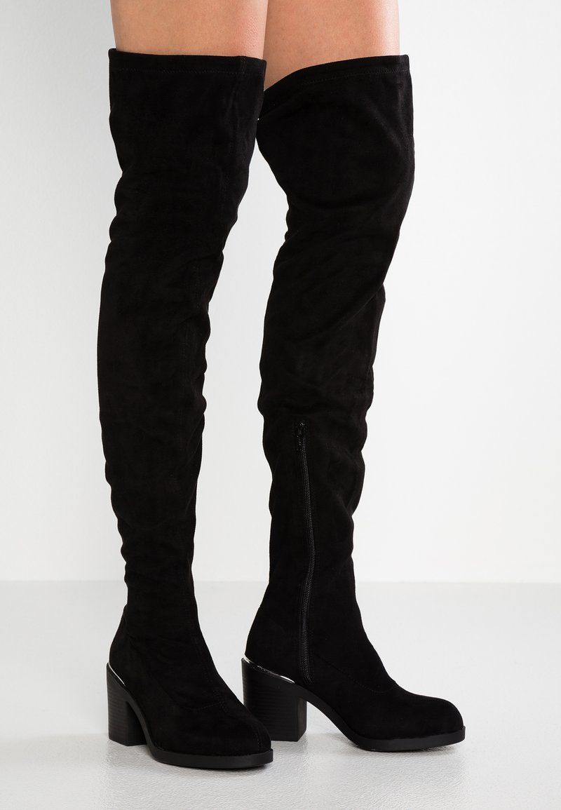 Topshop Wide Fit - WIDE FIT BAILEY HEELED UNIT BOOT - Overknees - black