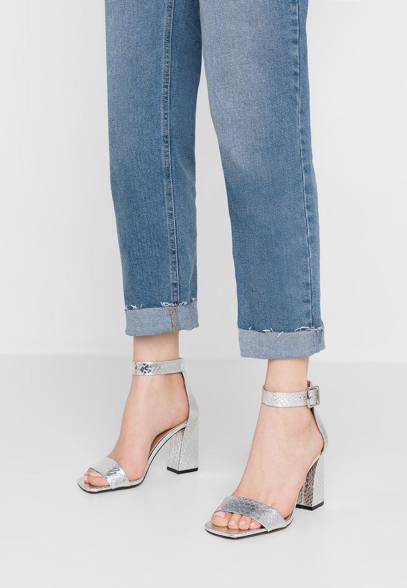 Topshop Wide Fit - WIDE FIT SUKI PART - High heeled sandals - silver