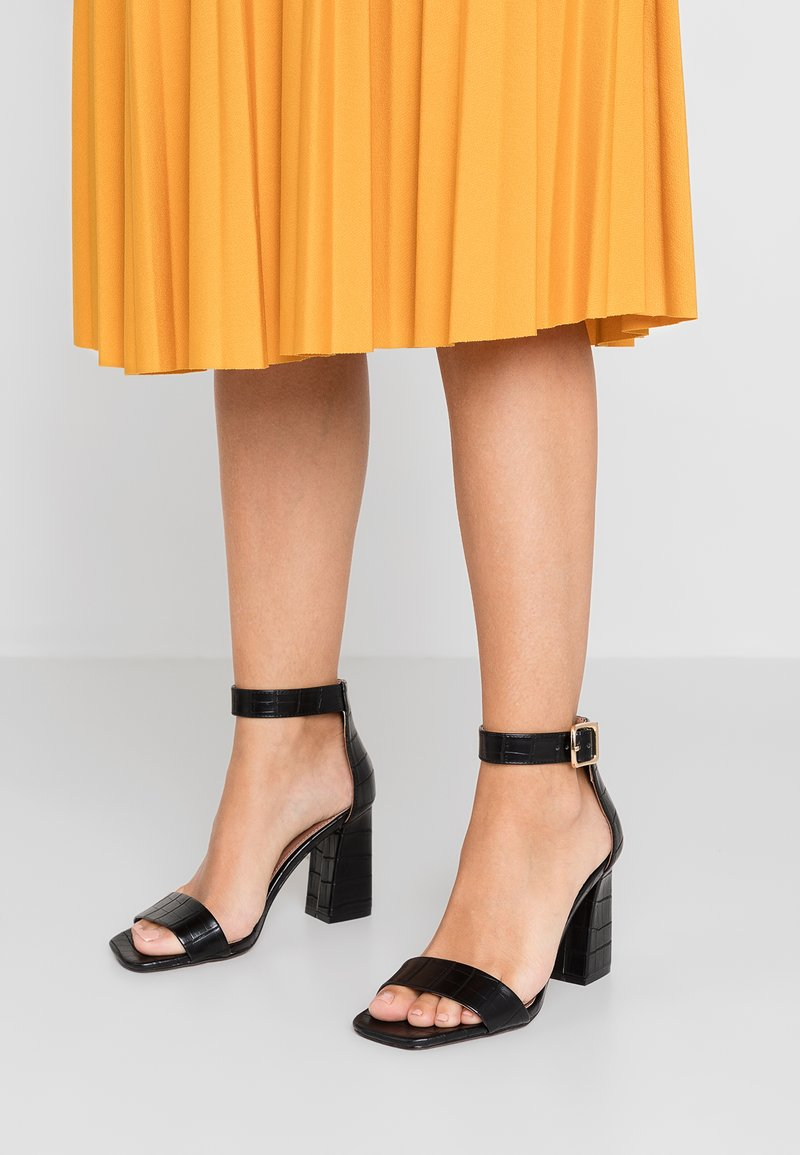 Topshop Wide Fit - WIDE FIT SUKI PART - High heeled sandals - black