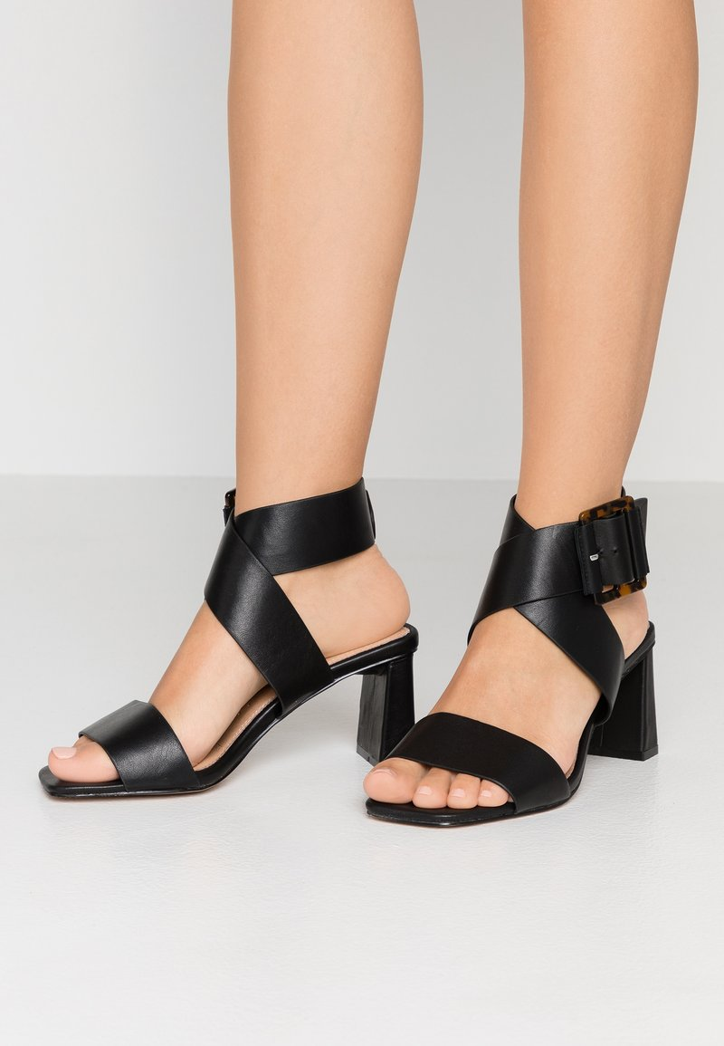 Topshop Wide Fit - WIDE FIT NATALIA CROSS  - Ankle cuff sandals - black