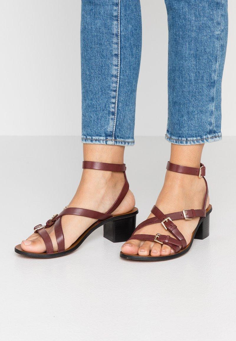 Topshop Wide Fit - WIDE FIT VIRGO - Sandals - burgundy
