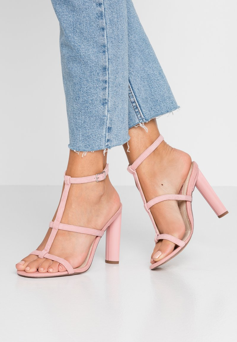 Topshop Wide Fit - WIDE FIT RIVER STRAPPY BLOCK - High heeled sandals - nude