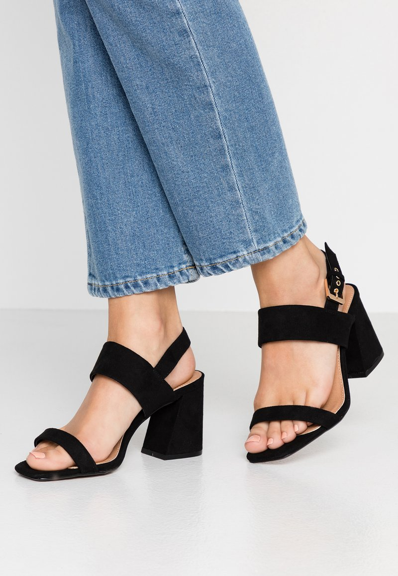 Topshop Wide Fit - WIDE FIT SABRINA BLOCK HEEL - Sandals - black