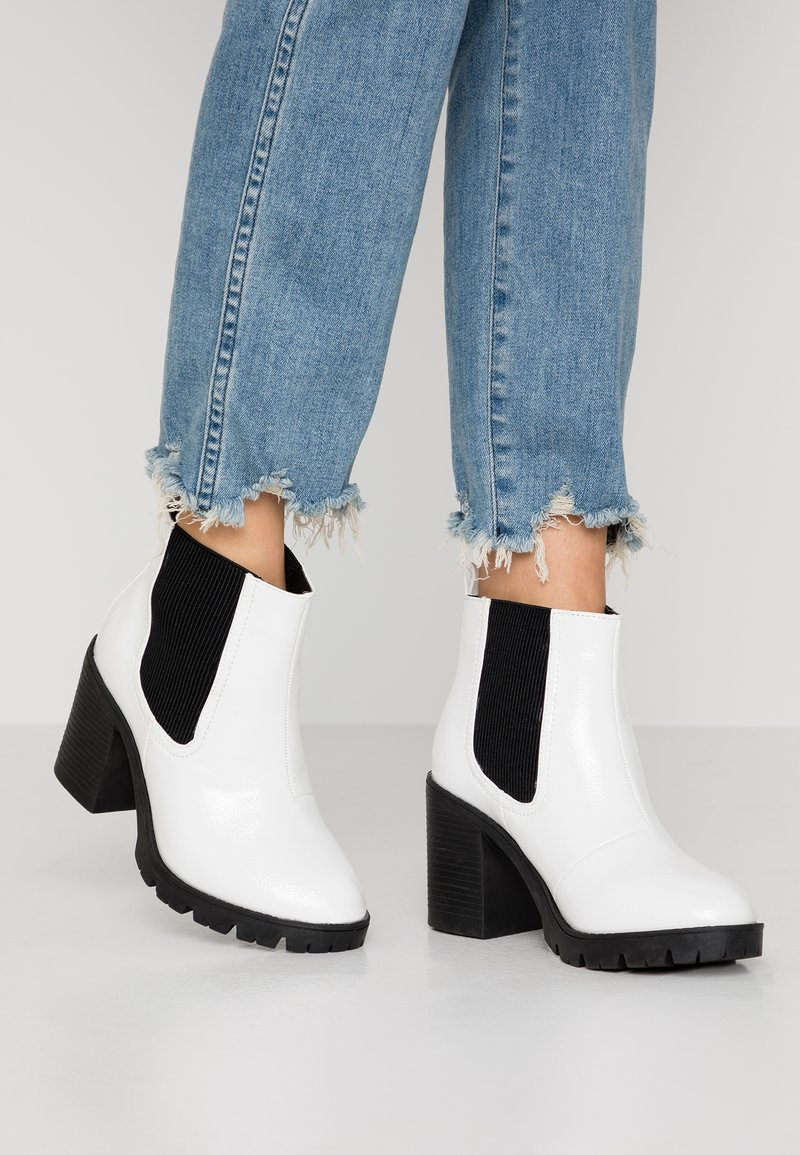 Topshop Wide Fit - WIDE FIT BYRON - Ankle boots - white