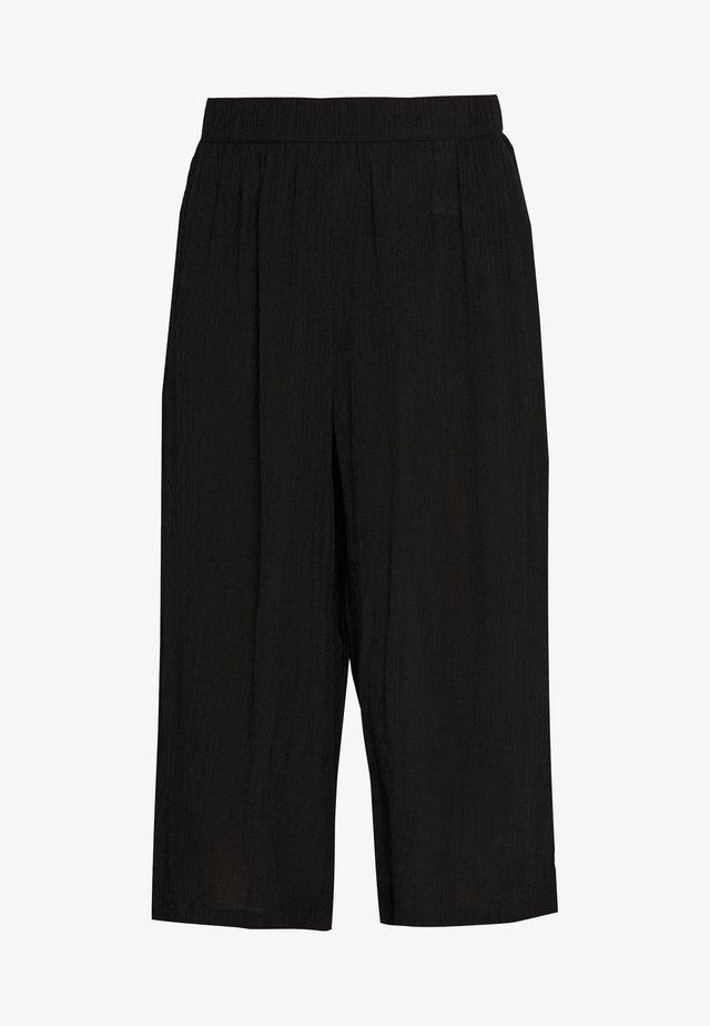 CULOTTE CRINKLE LOOK - Stoffhose - deep black
