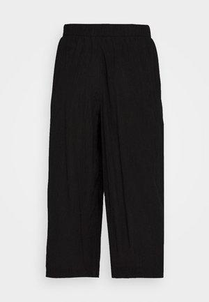 CULOTTE CRINKLE LOOK - Kalhoty - deep black