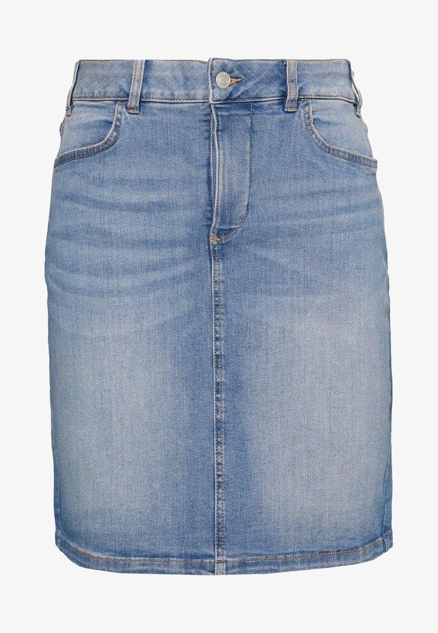 SKIRT - Spódnica jeansowa - destroyed light stone blue