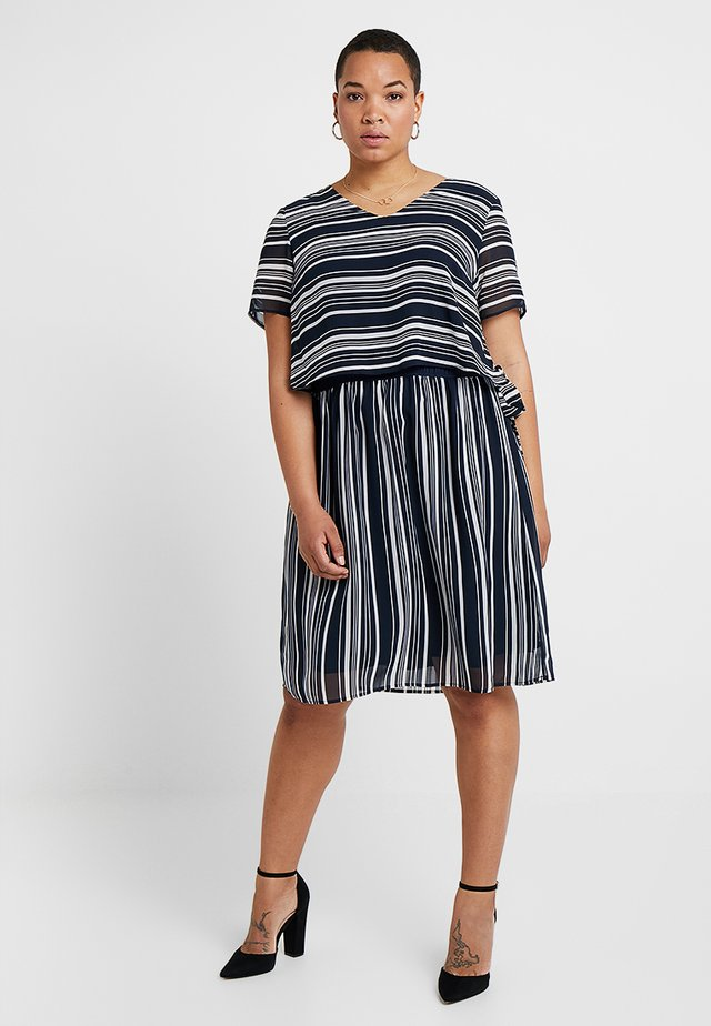DRESS WITH DOUBLE LAYER - Vardagsklänning - navy/offwhite