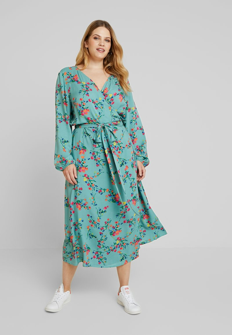 MY TRUE ME TOM TAILOR - WRAP DRESS WITH FLORAL - Freizeitkleid - mint floral design