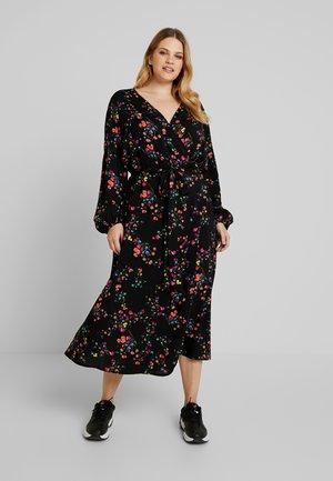 WRAP DRESS WITH FLORAL - Robe d'été - black floral design