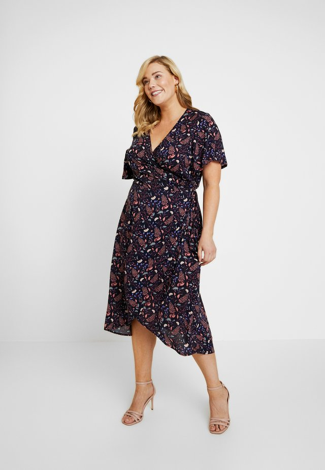 PRINTED WRAP DRESS - Vardagsklänning - navy blue