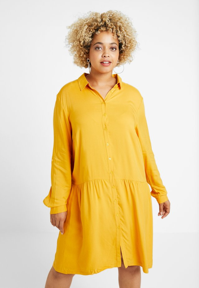 DRESS WITH TURN UPS - Shirt dress - merigold yellow