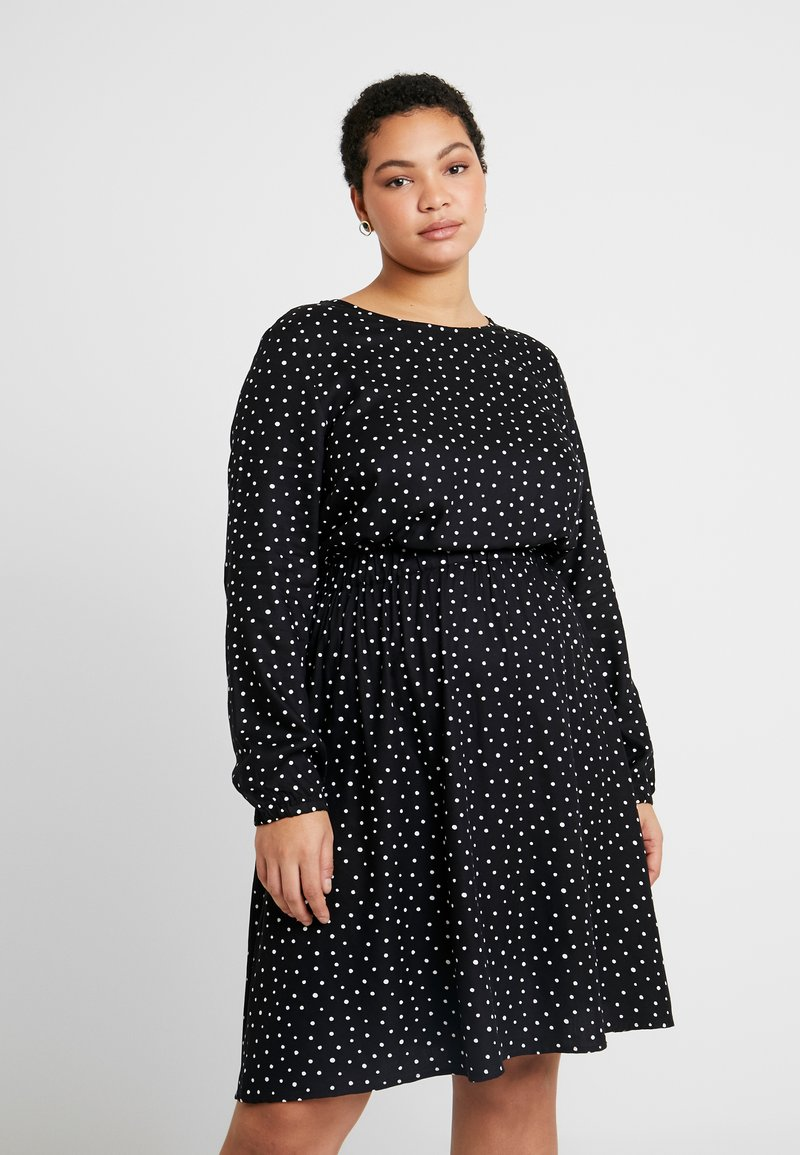 MY TRUE ME TOM TAILOR - FLUENT ELASTIC WAIST DRESS - Day dress - black/white