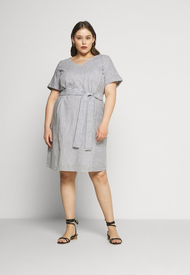 EASY SLUB STRIPE DRESS - Day dress - navy/white