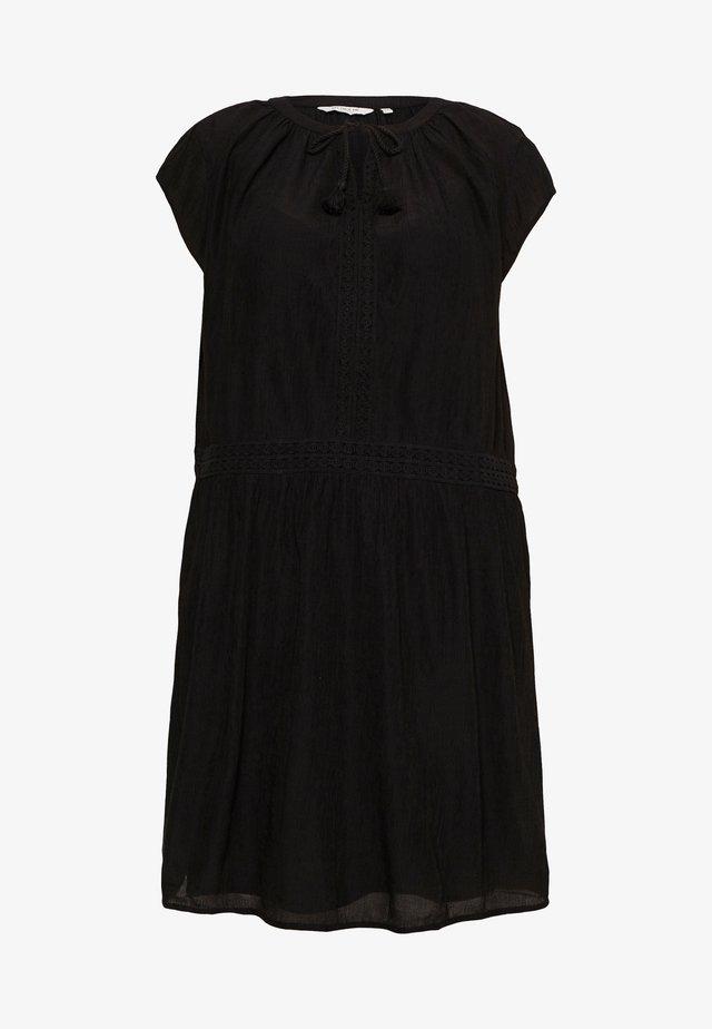 DRESS WITH DECO TAPES - Korte jurk - deep black