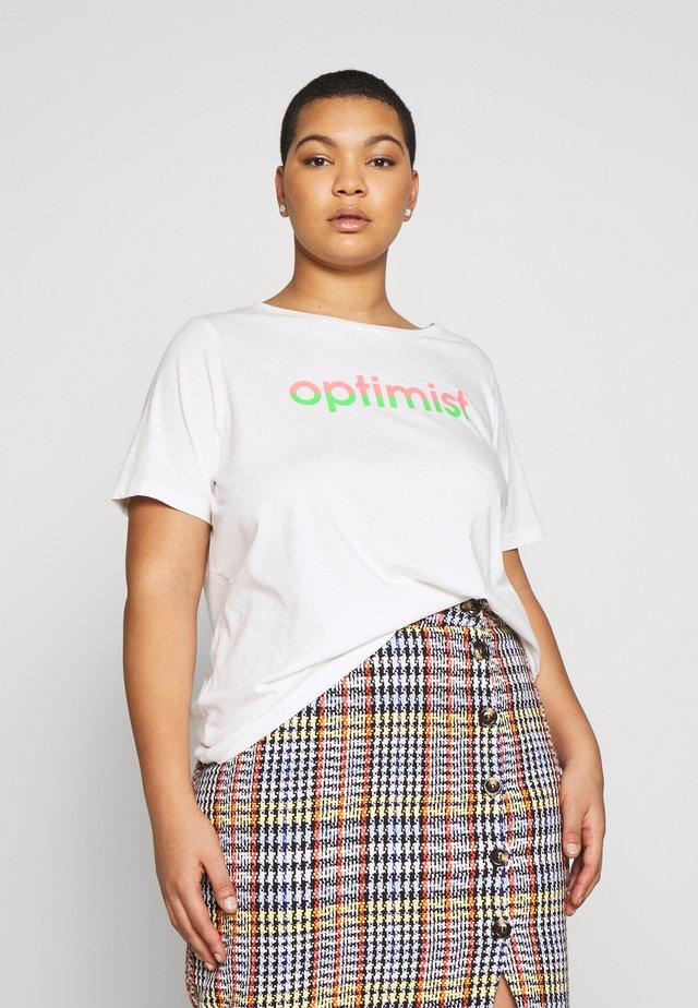 PLACEMENT PRINT - T-shirt z nadrukiem - off white/white