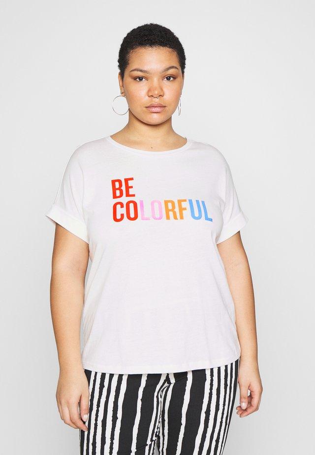 T-SHIRT WITH PLACEMENT PRINT - T-shirt z nadrukiem - whisper white