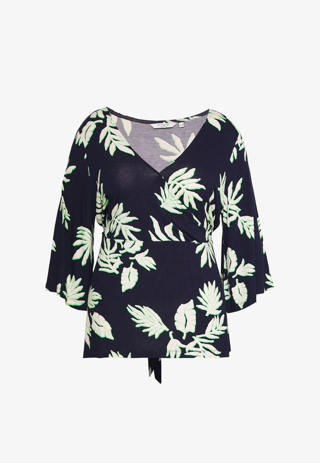 PRINTED WRAP - Long sleeved top - navy/beige/green/blue