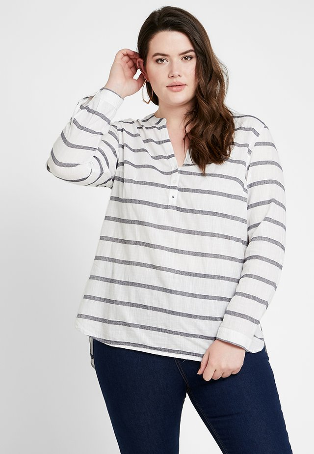 WIDE STRIPE HENLEY - Blouse - white/navy