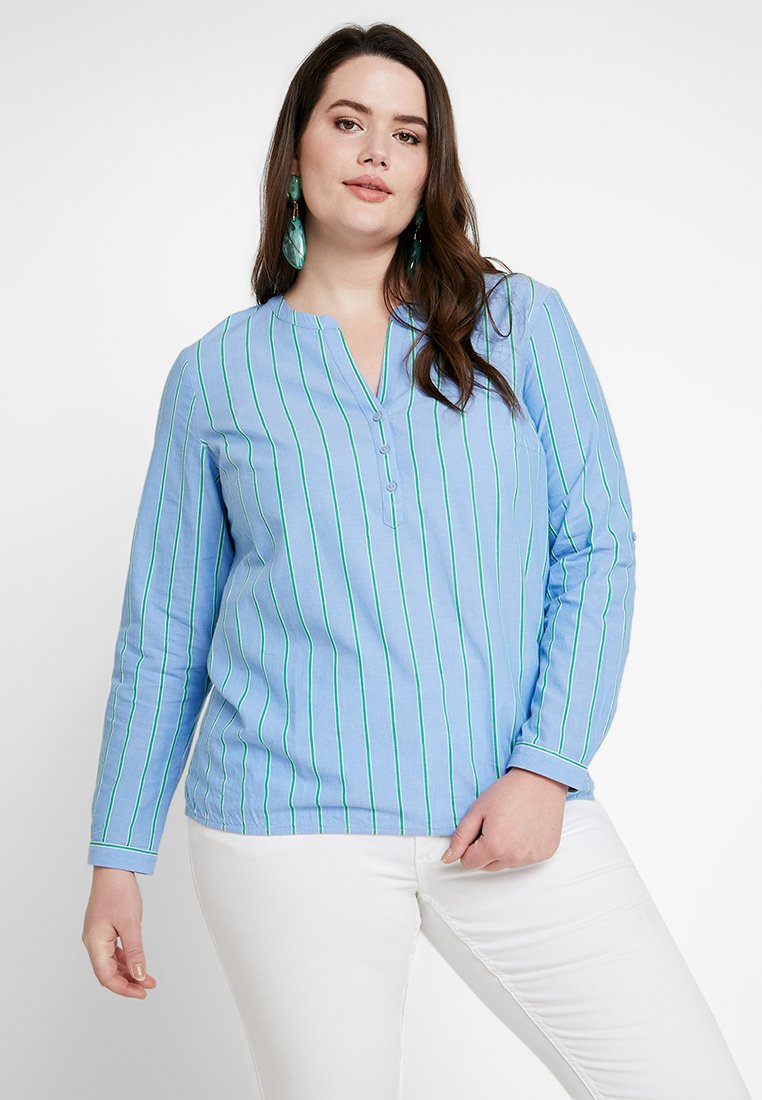 MY TRUE ME TOM TAILOR - STRIPE BUBBLE HEM BLOUSE - Blouse - blue/green
