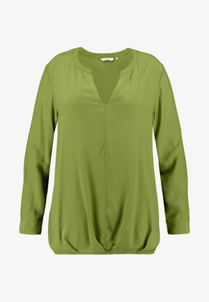 BLOUSE SOLID WITH FOLDED HEM - Blusa - wood green