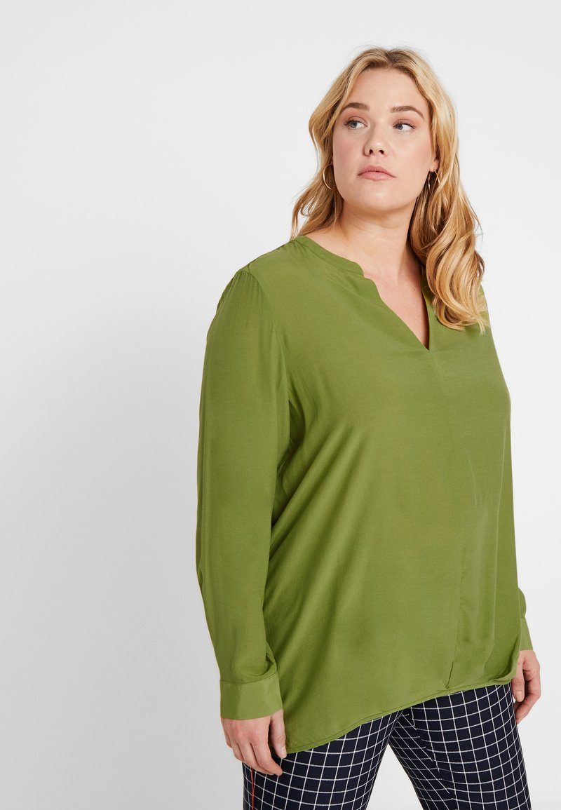 MY TRUE ME TOM TAILOR - BLOUSE SOLID WITH FOLDED HEM - Bluser - wood green
