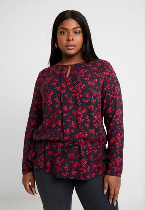 BLOUSE WITH DRAWSTRING - Blouse - navy